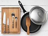 Kitchen utensils for gnocchi with vegetables