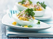 Wasabi eggs with cress and turkey breast