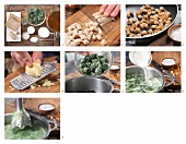 How to prepare spinach soup with croutons and ginger