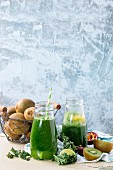 Green smoothie with kale, kiwi, lime and passionfruit
