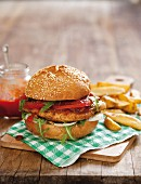 Cajun chicken burger and chips