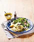 Grilled fish with lemon & caper butter sauce and dill