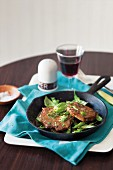 Minute steaks with lemon and basil