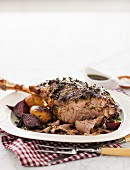 Roast leg of lamb with rosemary and anchovies