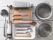 Kitchen utensils for preparing gnocchi and asparagus bake