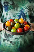 A woman holding a dish of different-coloured tomatoes