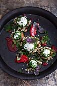 Yoghurt balls with herbs and plum sauce