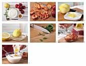 Pflaumen mit Zimt-Dickmilch und Zitronenmelisse zubereiten