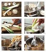 Lauch mit Erdnuss-Sauce und Basmatireis zubereiten