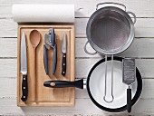 Kitchen utensils for preparing spaghetti