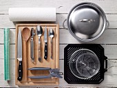 Kitchen utensils for preparing vegetables, turkey and chicken