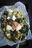 Orecchiette with flower sprouts, breadcrumbs, pesto and Parmesan
