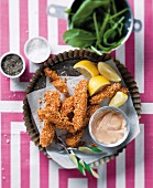 Hake fish fingers with paprika aioli