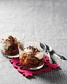 Coffee granita with cream and chocolate flakes