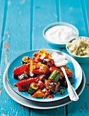 Moroccan pan-fried vegetables with harissa, yoghurt and couscous