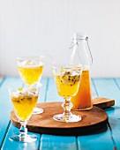 Tangerine & passionfruit cordials
