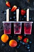 Vegan strawberry & blueberry ice lollies