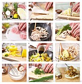 Chinakohl-Wraps mit Putenstreifen, Paprika und Pilzen zubereiten