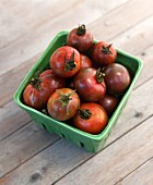 Heirloom cherry tomatoes in a ceramic dish