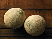 Two whole cantaloupe melons