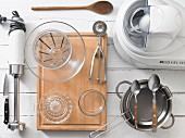 Assorted kitchen utensils for preparing ice cream and sorbet