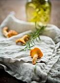 Pfifferlinge, Rosmarin und Olivenöl