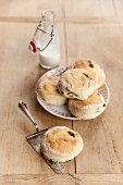 Scones on a plate with a cake slice
