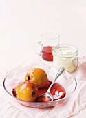 Nectarines poached in vanilla syrup