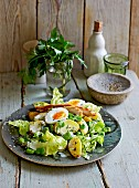 A summery potato & bean salad with chicken and egg