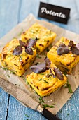Polenta quiche with mushrooms and purple basil