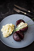 Beetroot with parsnip puree