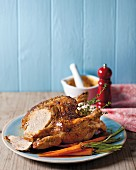 Roasr chicken with pickled lemons and cumin butter