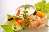 A prawn kebab with egg and aioli (close-up)