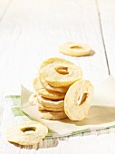 Dried apple rings, stacked