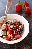 Chia pudding with berries and hazelnuts