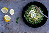 Parsley & bulgar with slices of lemon