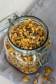 Baked muesli in a preserving jar
