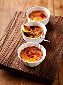 Crème brûlée in three ramekins