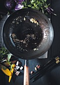 A wok containing leftover food