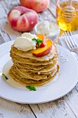 Pancakes with peach, cream cheese and honey