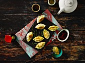 Chinese pork dumplings with a soy sauce dip