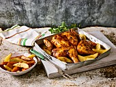Butterfly chicken with potato wedges