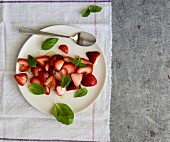 Strawberry salad with honey and basil