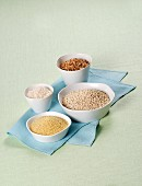 Rice, spelt, barley and couscous in white bowls