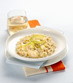 Risotto porri, pere e taleggio (Italian risotto with leek, pear and cheese)
