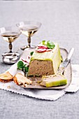 Chicken liver terrine with leek