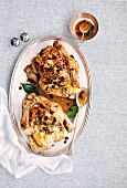 Roast chicken with a fruity sauce