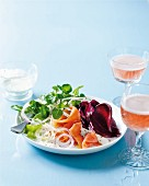 Salad with smoked salmon trout, beetroot and watercress