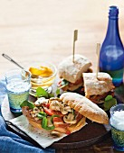 Sandwiches with mushrooms, bacon, tomato and watercress