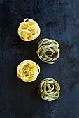 Assorted tagliatelle nests